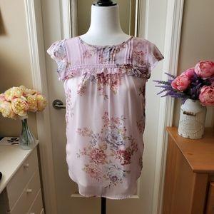 Ann Taylor LOFT floral Pink ruffle blouse XS